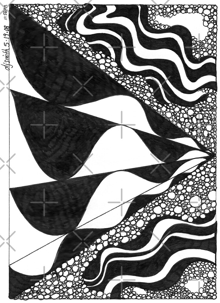 Waves, Ink Drawing by Danielle Scott