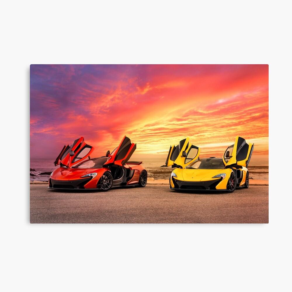 Zwei McLarens mit einem epischen Sonnenuntergang Leinwanddruck
