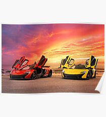 Two McLarens with an Epic Sunset Poster