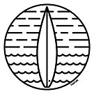 Surfing Minimal Icon Sticker by Fangpunk