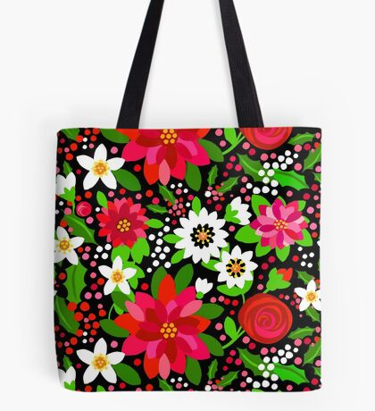 Christmas Flowers / Holiday Flowers Tote Bag