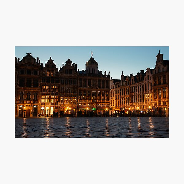 Brussels - Grand Place Facades Golden Glow Photographic Print