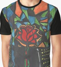 City Rose Abstract Water Color Graphic T-Shirt