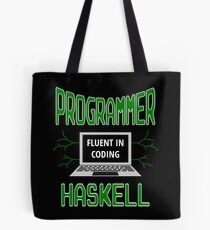 Retro Programmer Design Fluent in Coding Haskell Tote Bag