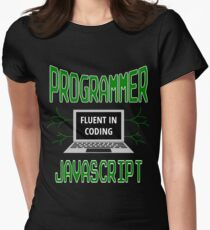 Retro Programmer Design Fluent in Coding JavaScript Women's Fitted T-Shirt