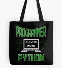 Retro Programmer Design Fluent in Coding Python Tote Bag