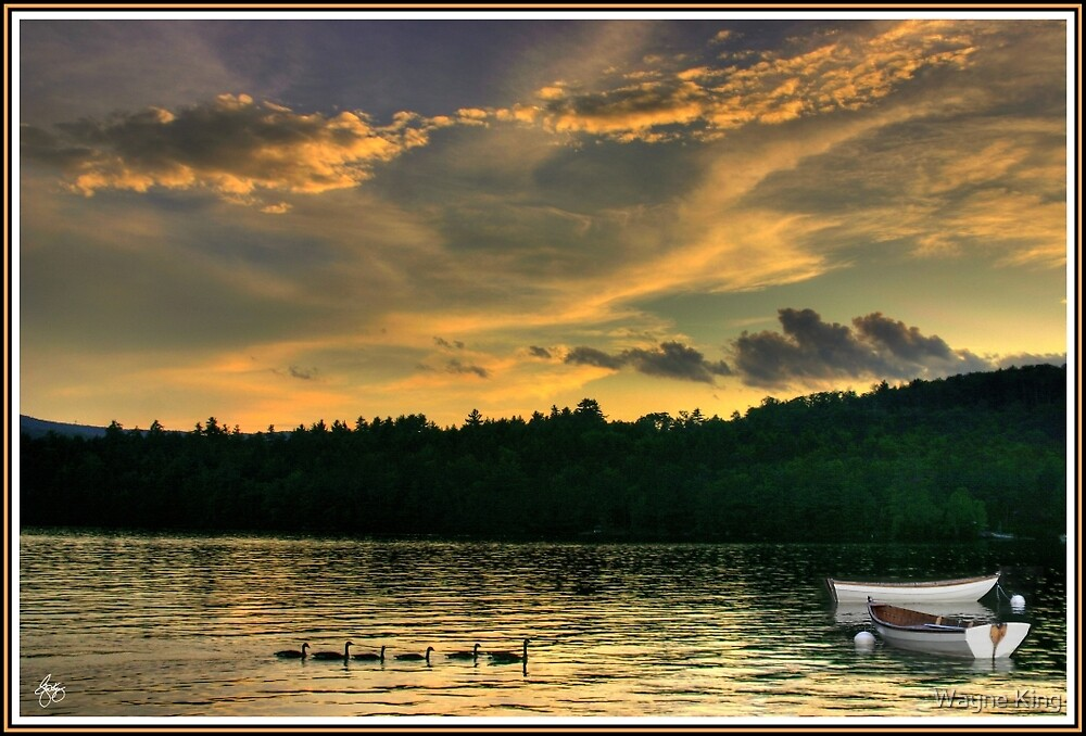 Geese with Boats, Newfound Lake Hebron, NH by Wayne King