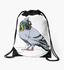 Techno Pigeon Drawstring Bag