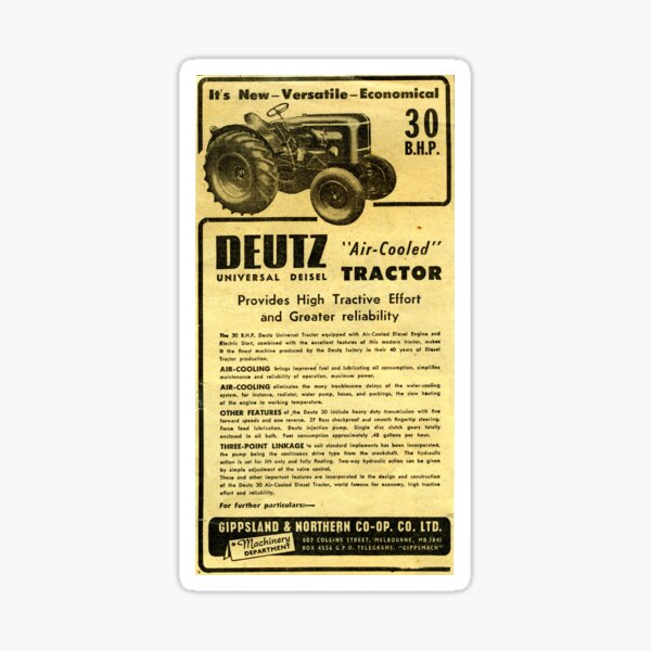 Deutz Vintage Tracteur Sticker