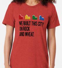 Camiseta de tejido mixto CONSTRUIMOS ESTA CIUDAD EN ROCK AND WHEAT Colonos de Catan