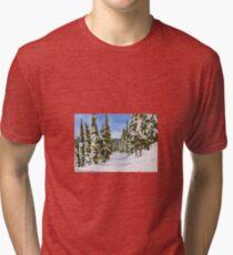 Snow Scene Watercolour Painting Tri-blend T-Shirt