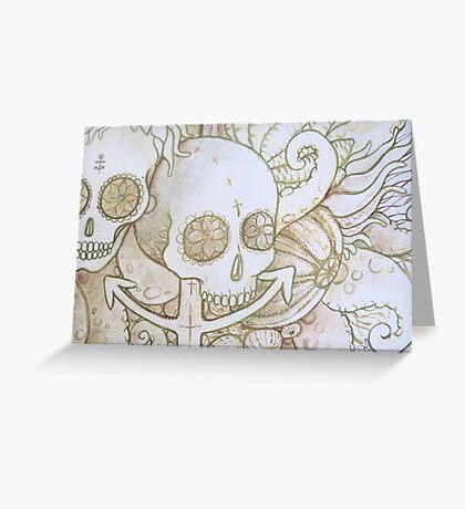 skull in the ocean sketch Greeting Card