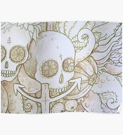 skull in the ocean sketch Poster