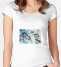 Koi Pond Watercolour Painting Women's Fitted Scoop T-Shirt