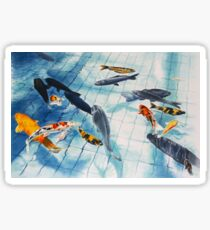 Koi Pond Watercolour Painting Sticker