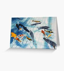 Koi Pond Watercolour Painting Greeting Card