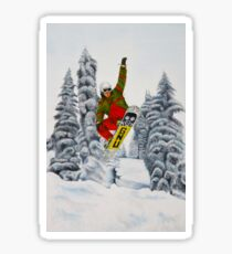 Snowboarding Watercolour Painting Sticker