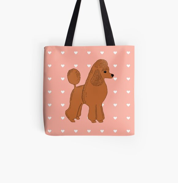 Red Apricot Poodle with Peach Pink & Hearts All Over Print Tote Bag