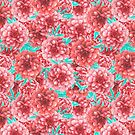 Pink & Coral Peony Floral Pattern by tanyadraws