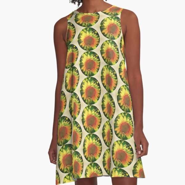 Vintage Sunflower  A-Line Dress