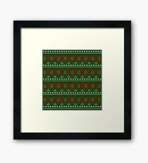 Knitted Christmas pattern red green Framed Print
