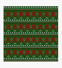 Knitted Christmas pattern red green Photographic Print