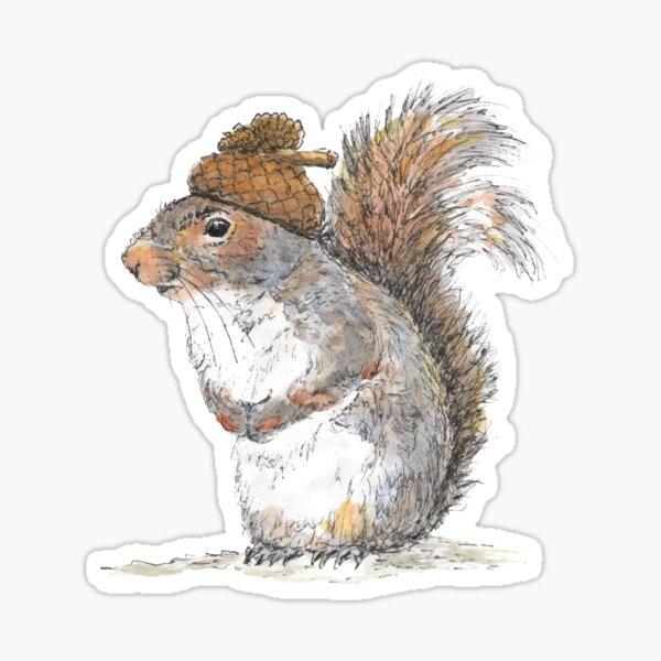 Squirrel with an Acorn Hat Sticker