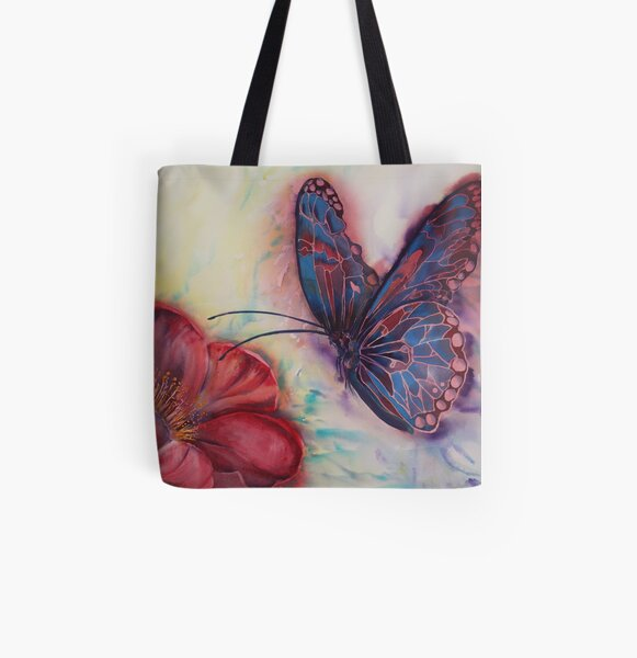 Stained Glass Butterfly in watercolour painted with fuchsia pink and lavender blue All Over Print Tote Bag