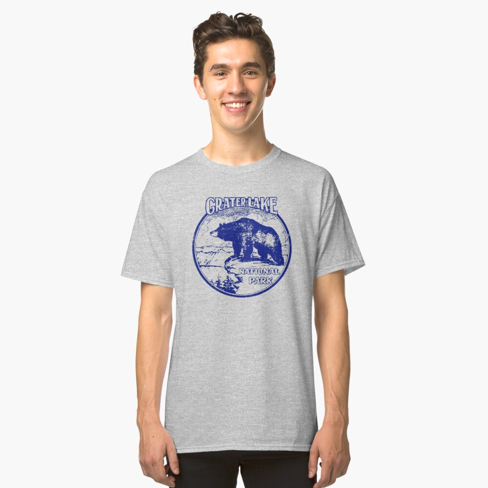 Crater Lake Bear National Park Vintage  Classic T-Shirt Front