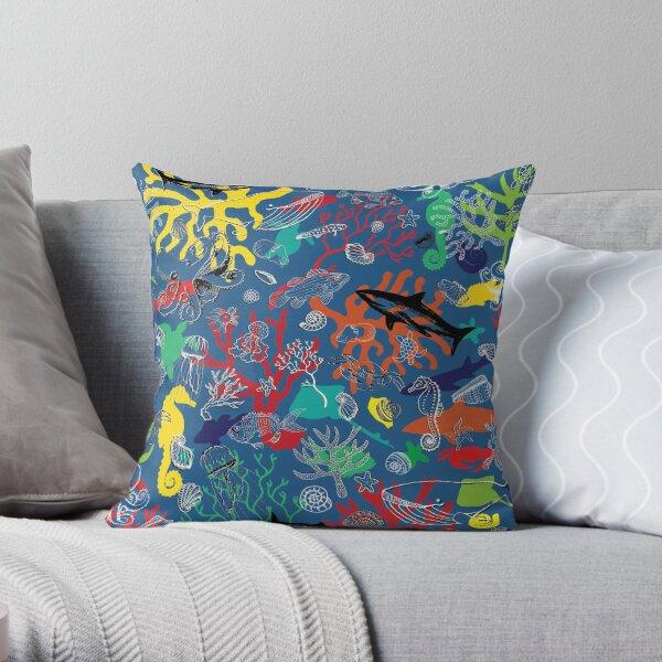 Ocean Colour Scene - fun nautical pattern by Cecca Designs Throw Pillow