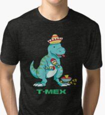 T-Mex Mexican T-Rex Dinosaur Tri-blend T-Shirt