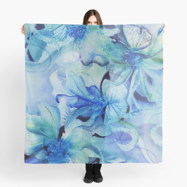 Orchid Scenario in watercolour with abstract tendrils Scarf