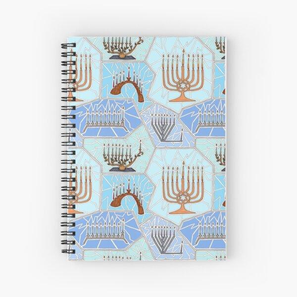 Hanukkah Menorah Mosaic Pattern in Light Blues Spiral Notebook