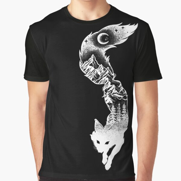 Fox Silhouette with Mountains, Trees & Moon T-Shirt Graphic T-Shirt