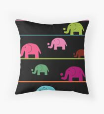 Elephant race Throw Pillow