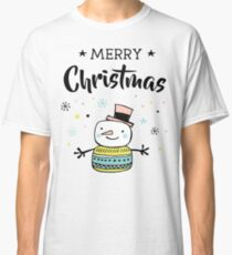 Merry Christmas Hand Draw Greeting Card with Snowman Classic T-Shirt
