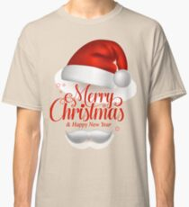 Merry Christmas Title Typography Vector Concept in Red with Hat Classic T-Shirt