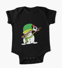 Dabbing Snowman Soccer Elf Hat One Piece - Short Sleeve