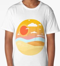 Cool Graphic Beach Sunset Long T-Shirt