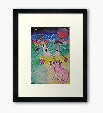 Galactic Cat Battle Framed Print