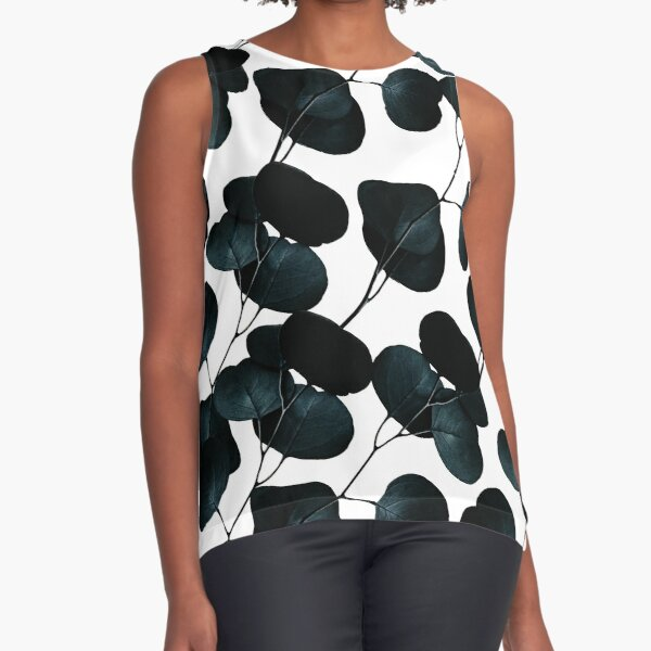 Dark Leaves #redbubble #artforsale Sleeveless Top