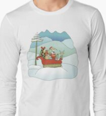 Santabird Tracking Through the Snow with Rudolph T-Shirt