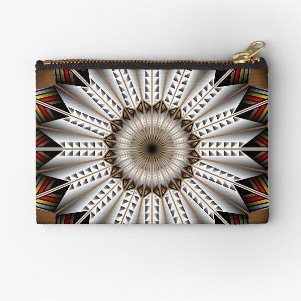 Native Feather Design Zipper Pouch