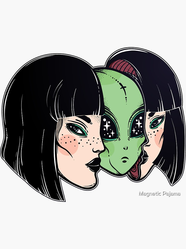 Green Alien E.T. Disguised as a Woman on Earth by MagneticMama