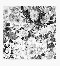 Black gray modern watercolor roses floral pattern Photographic Print