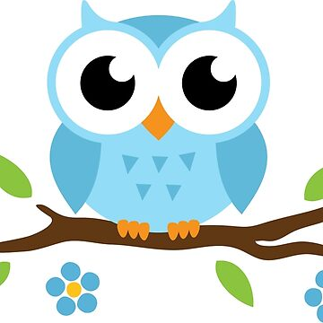 Blue baby owl sitting on a branch sticker by MheaDesign