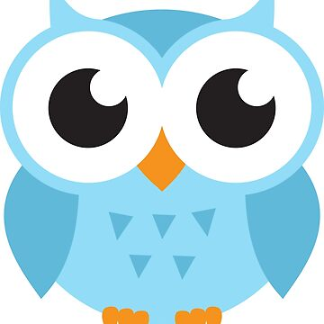 Cute, blue baby owl stickers by MheaDesign