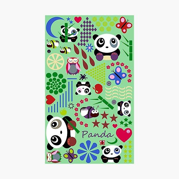 Kids Pandas, Butterflies and Owl Photographic Print