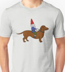 Gnome Riding a Dachshund Unisex T-Shirt