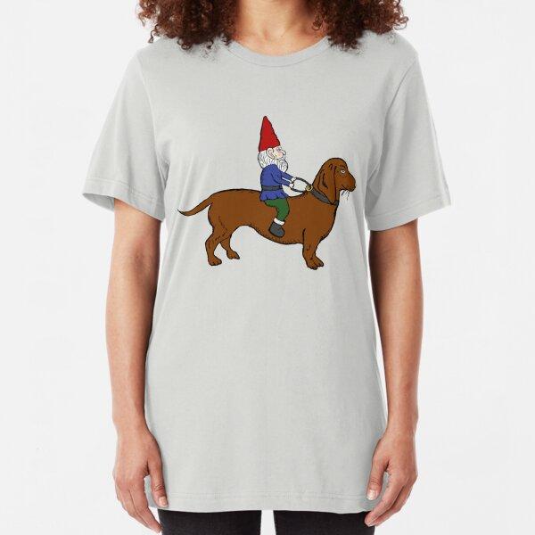 Gnome Riding a Dachshund Slim Fit T-Shirt